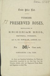 Advert for the Krikorian Brothers' Turkish Roses